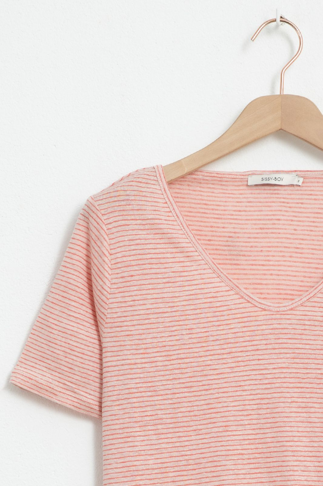 Lichtroze linnen T-shirt gestreept - Dames | Sissy-Boy