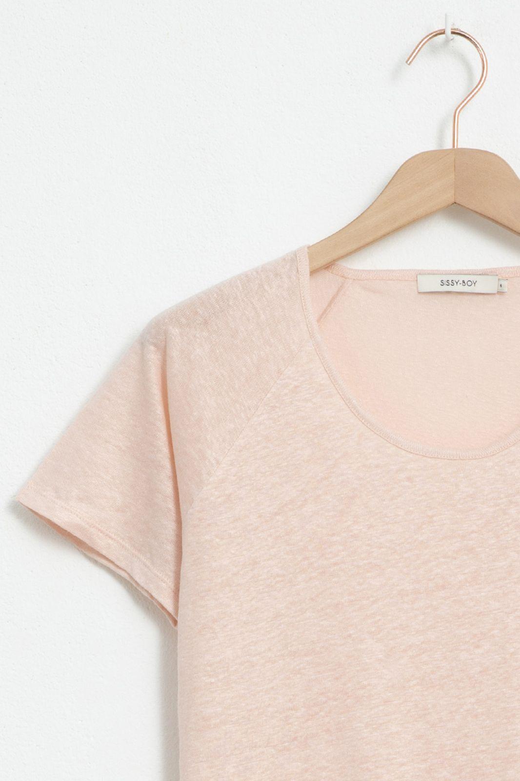 Beige linnen T-shirt met raglan mouw - Dames | Sissy-Boy