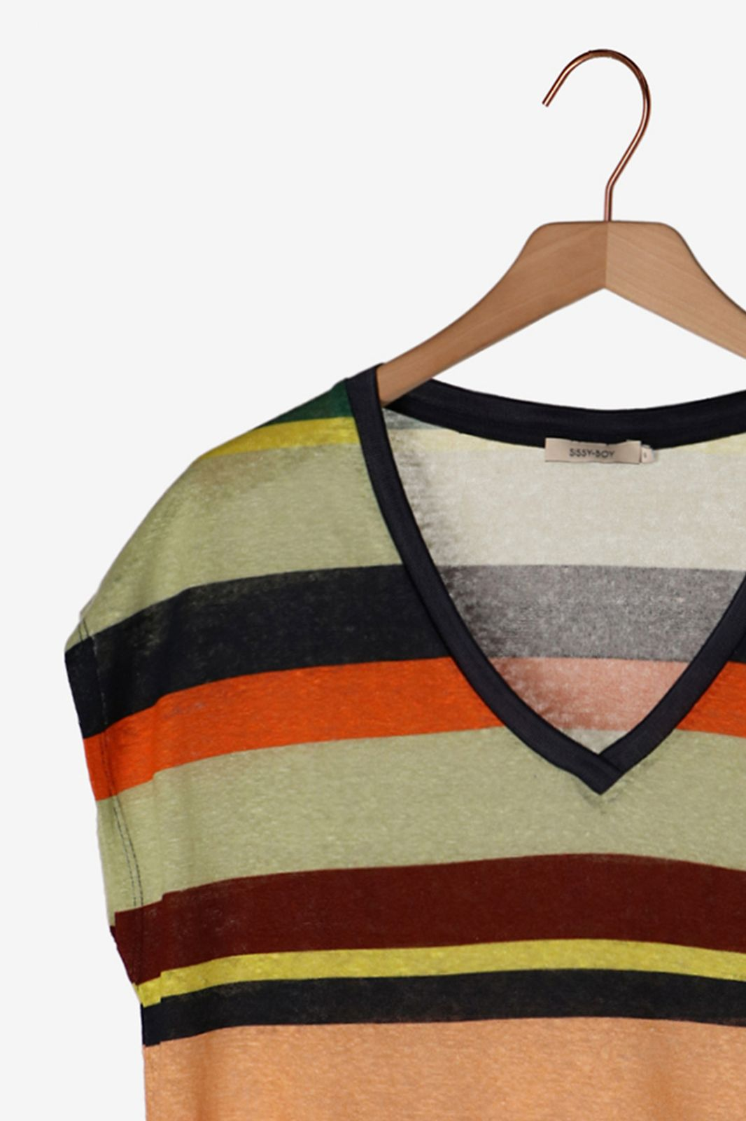 Gestreept linnen T-shirt - Dames | Sissy-Boy