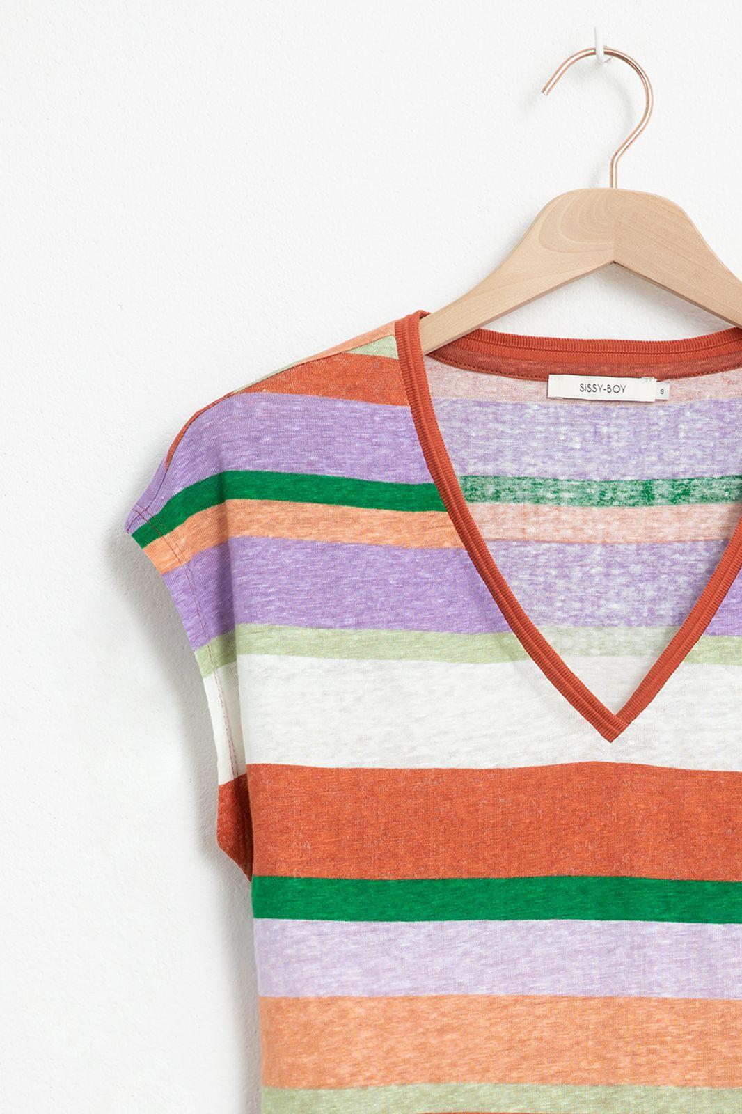 Multicolor gestreept T-shirt met v-hals