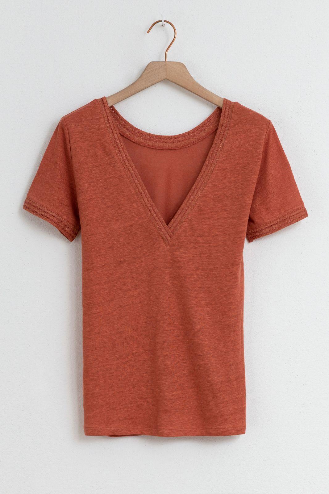 Roze linnen t-shirt