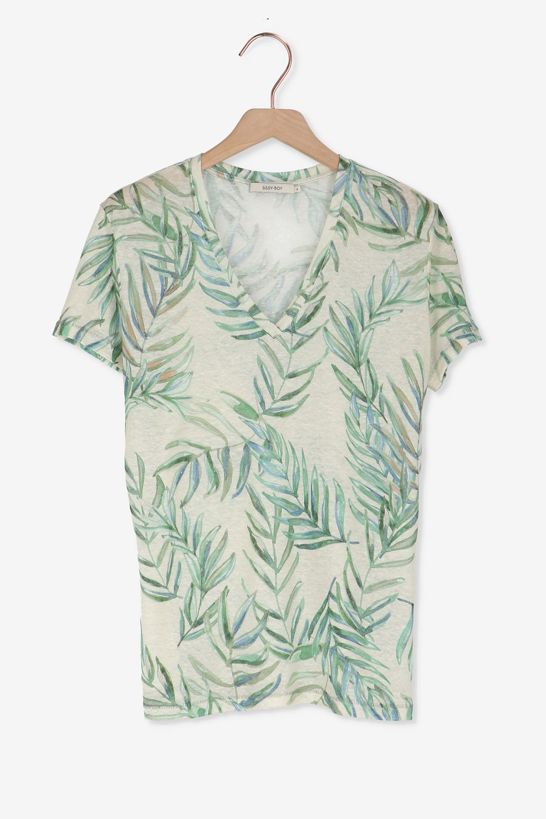 Groen linnen t-shirt met print - Dames | Sissy-Boy