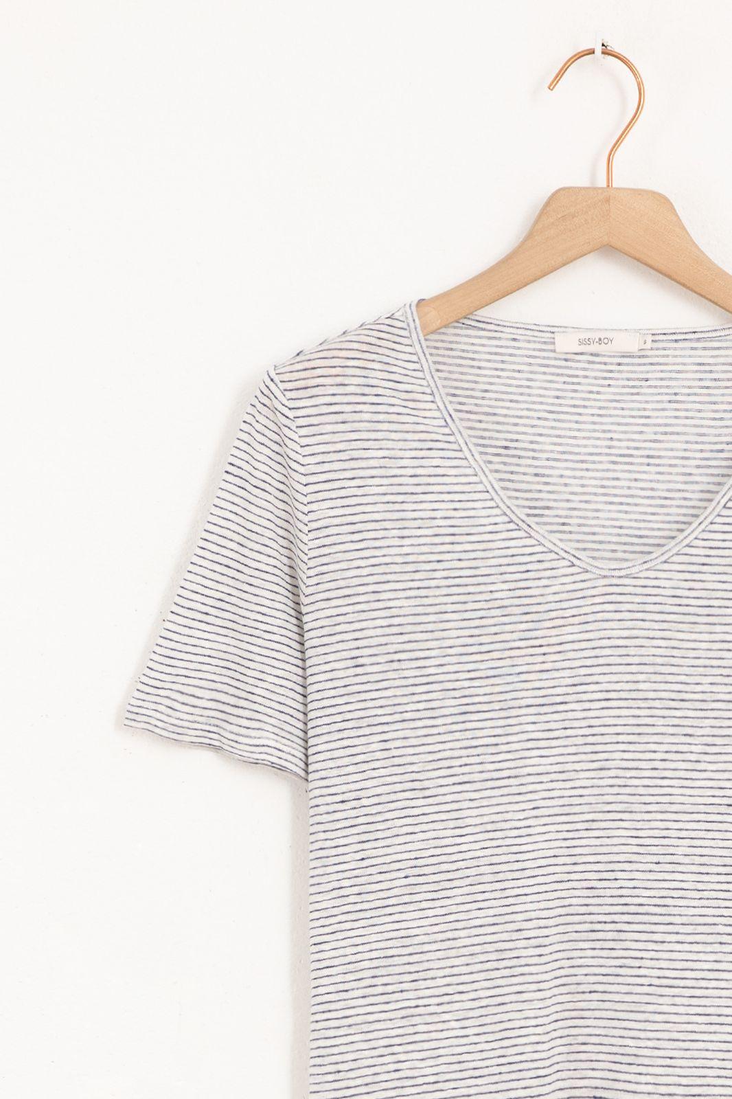 Ecru linnen T-shirt gestreept - Dames | Sissy-Boy