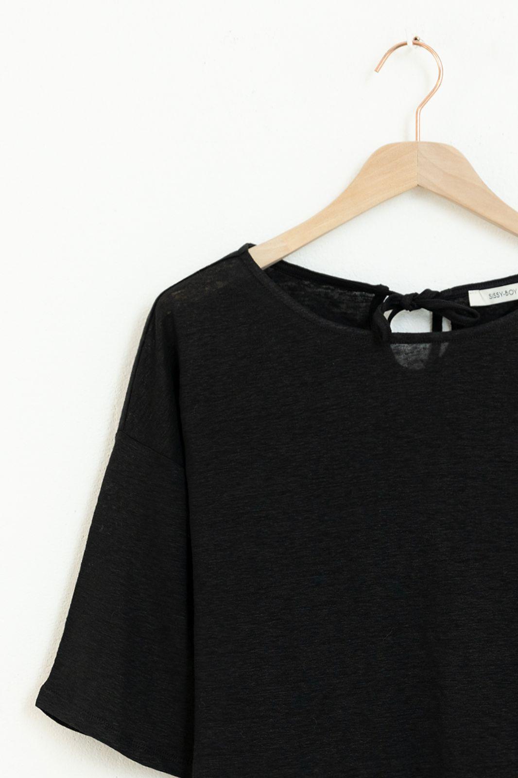 Zwarte linnen T-shirt met driekwart mouwen - Dames | Sissy-Boy
