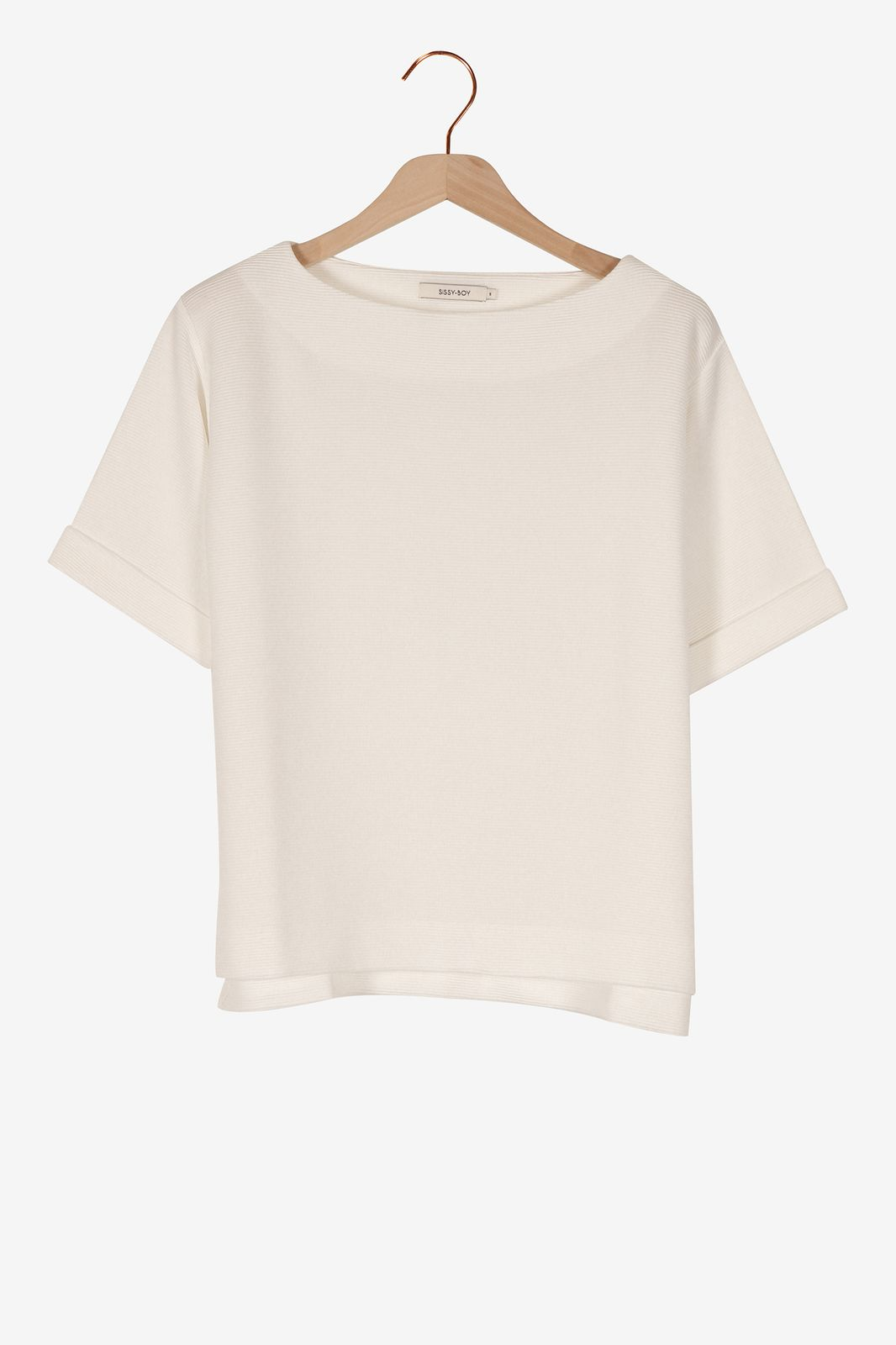 Wit t-shirt met rib structuur