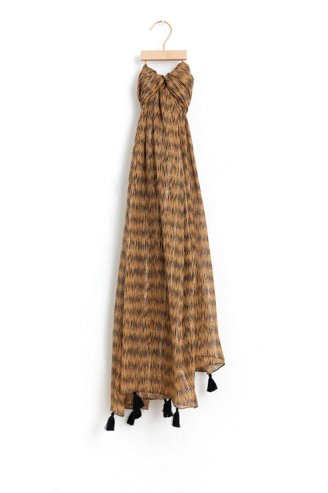 Modal sjaal met lurex streep en tassels - Dames | Sissy-Boy