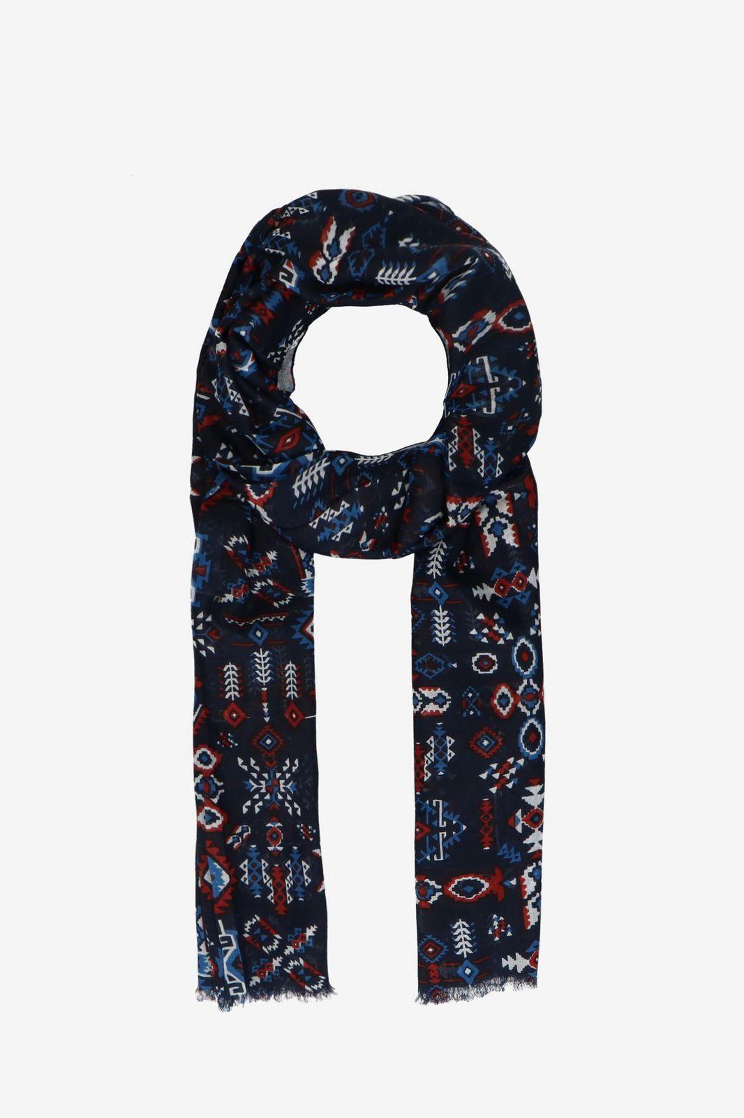 Donkerblauwe sjaal met scandinavische print - Dames | Sissy-Boy