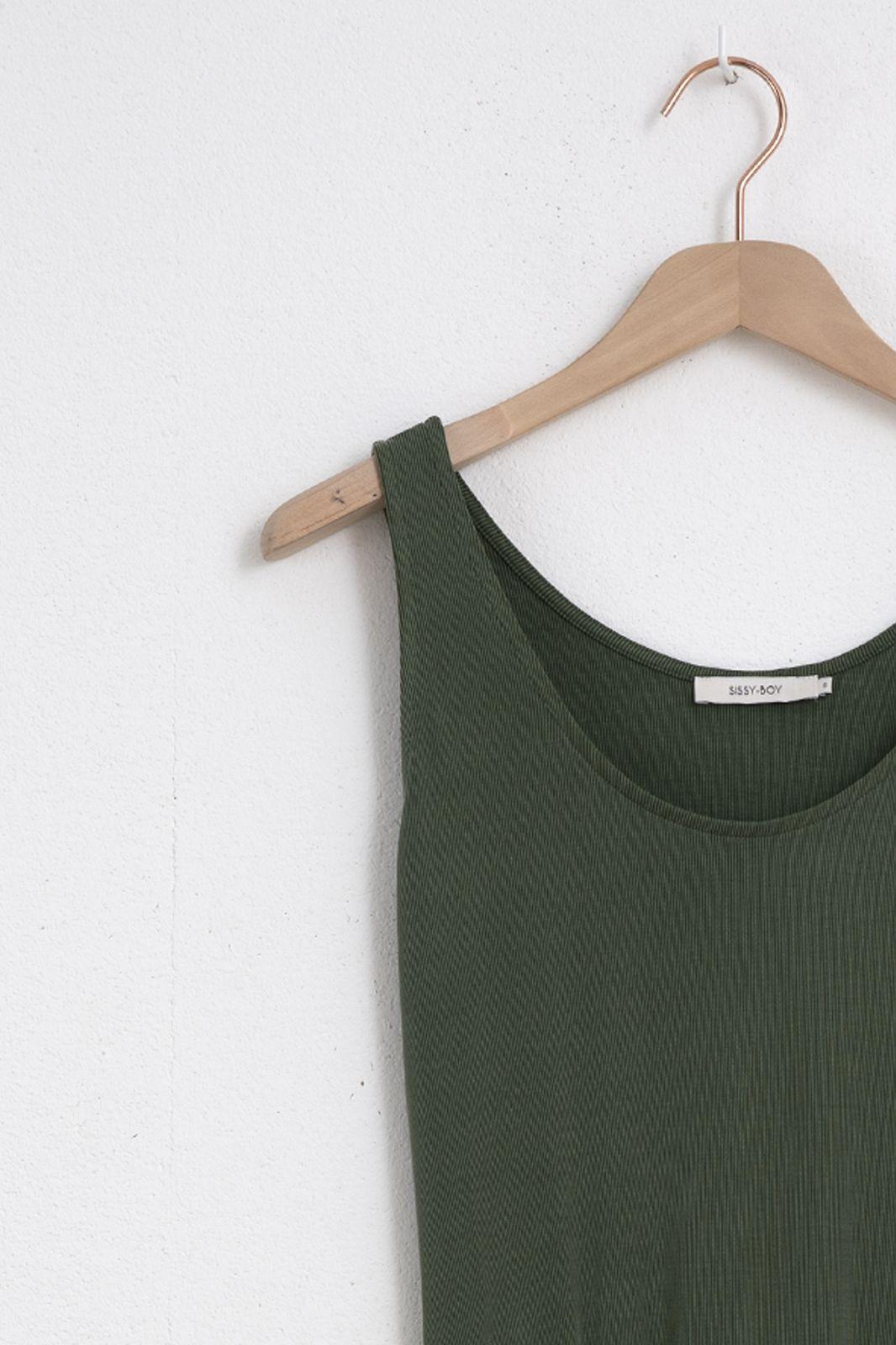 Groene midi jurk met ceintuur