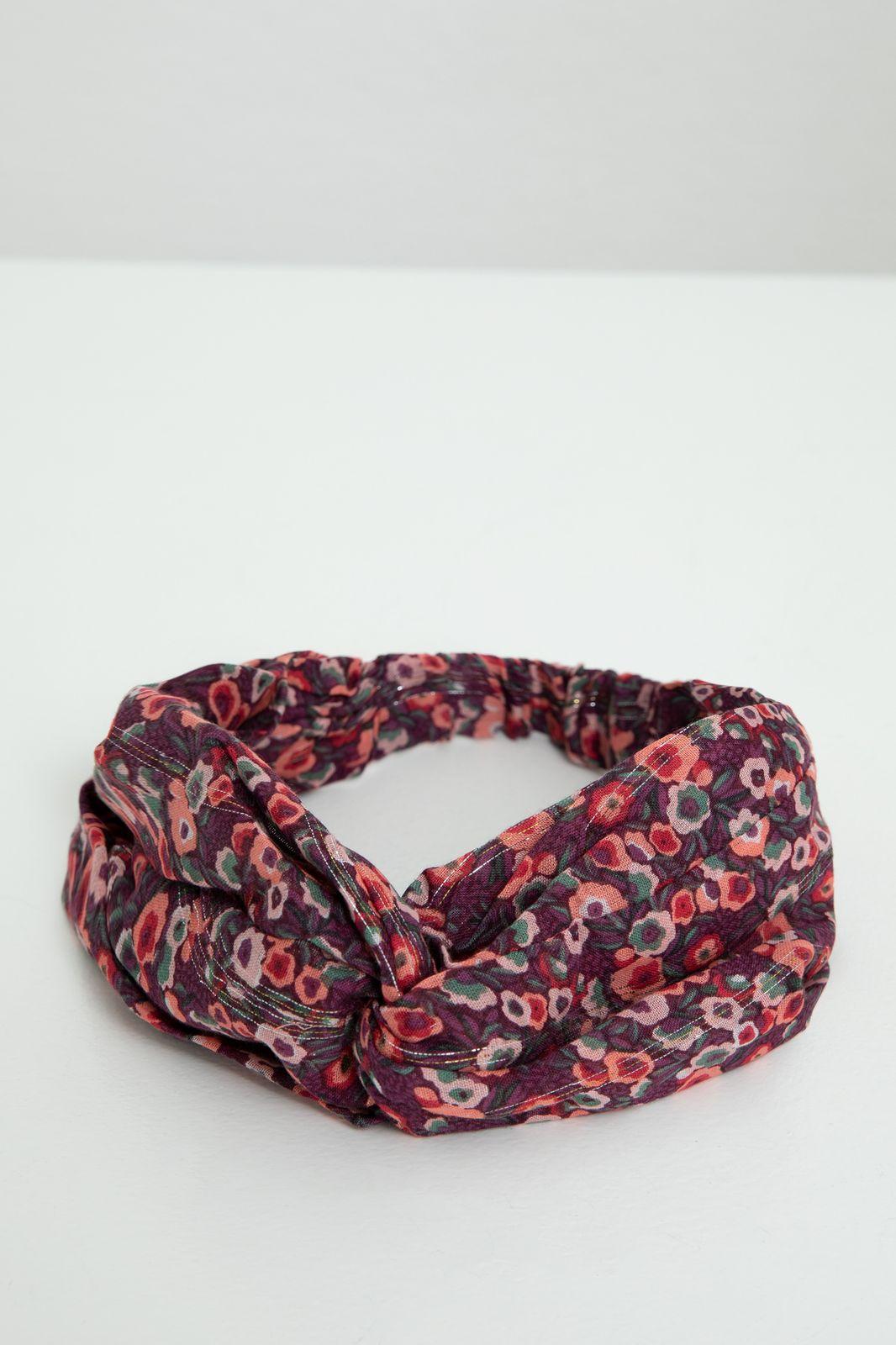 Paarse haarband met all over bloemenprint