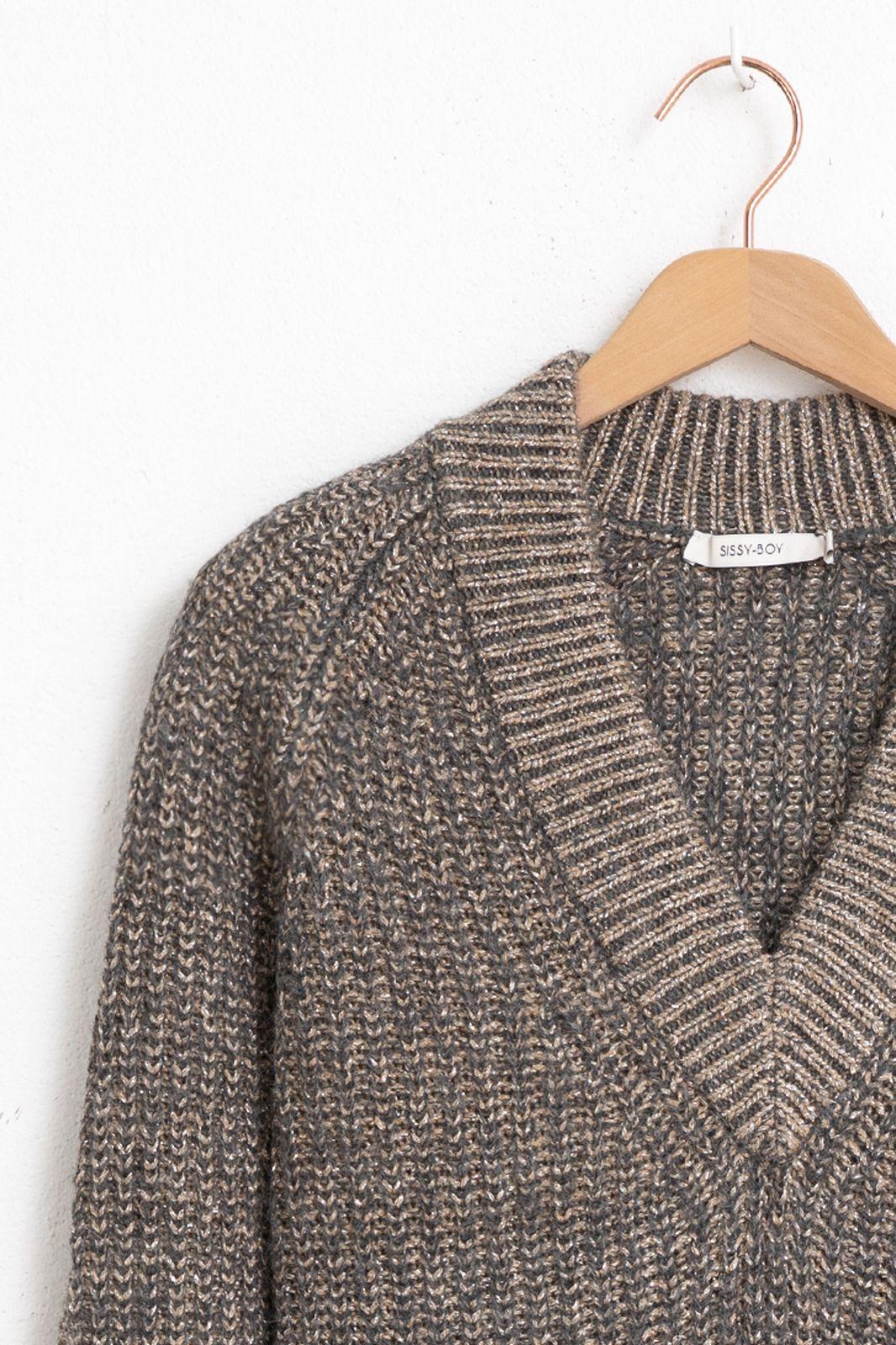 Grijze oversized trui met lurex