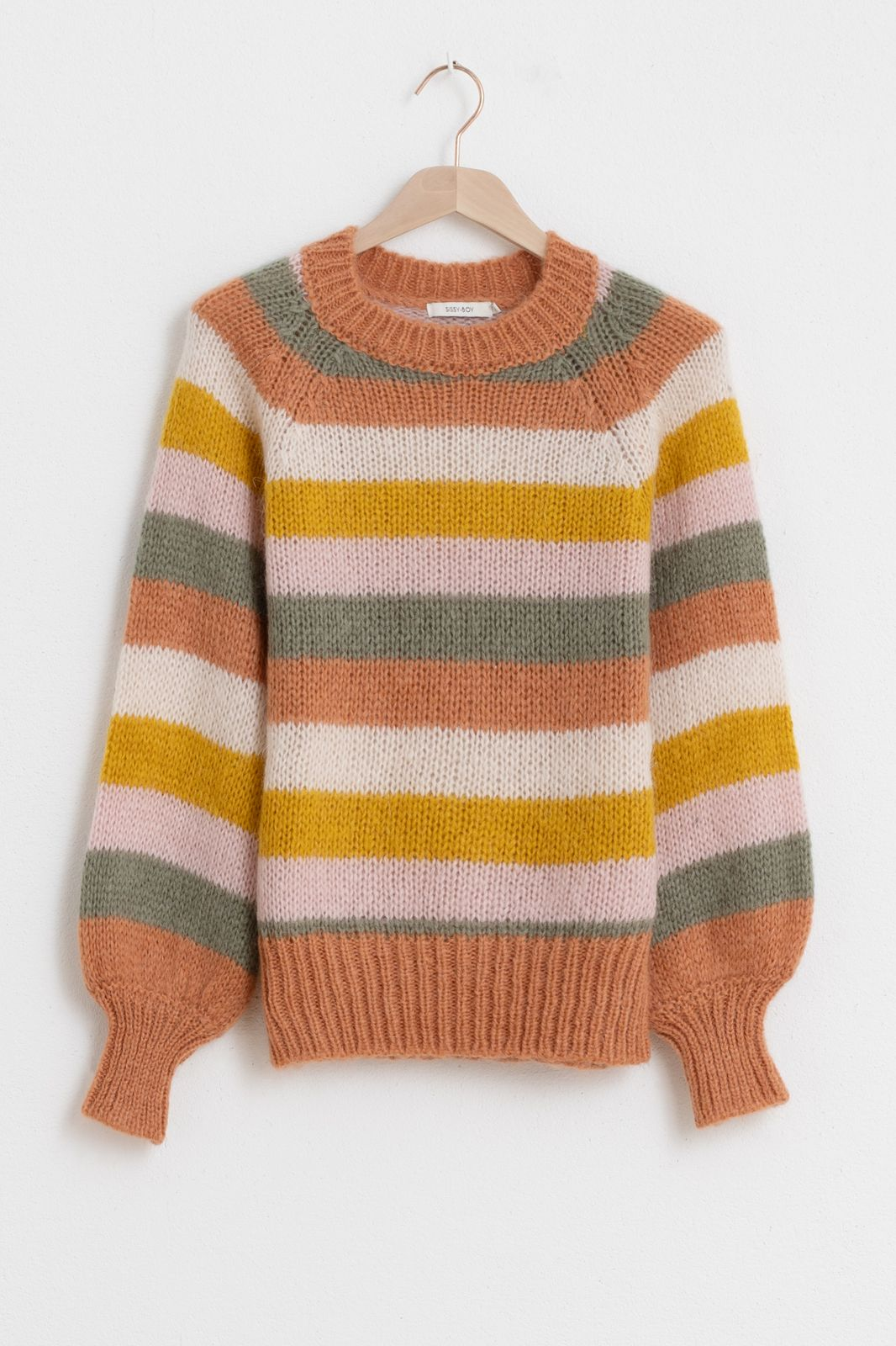 Multicolor streep trui oranje