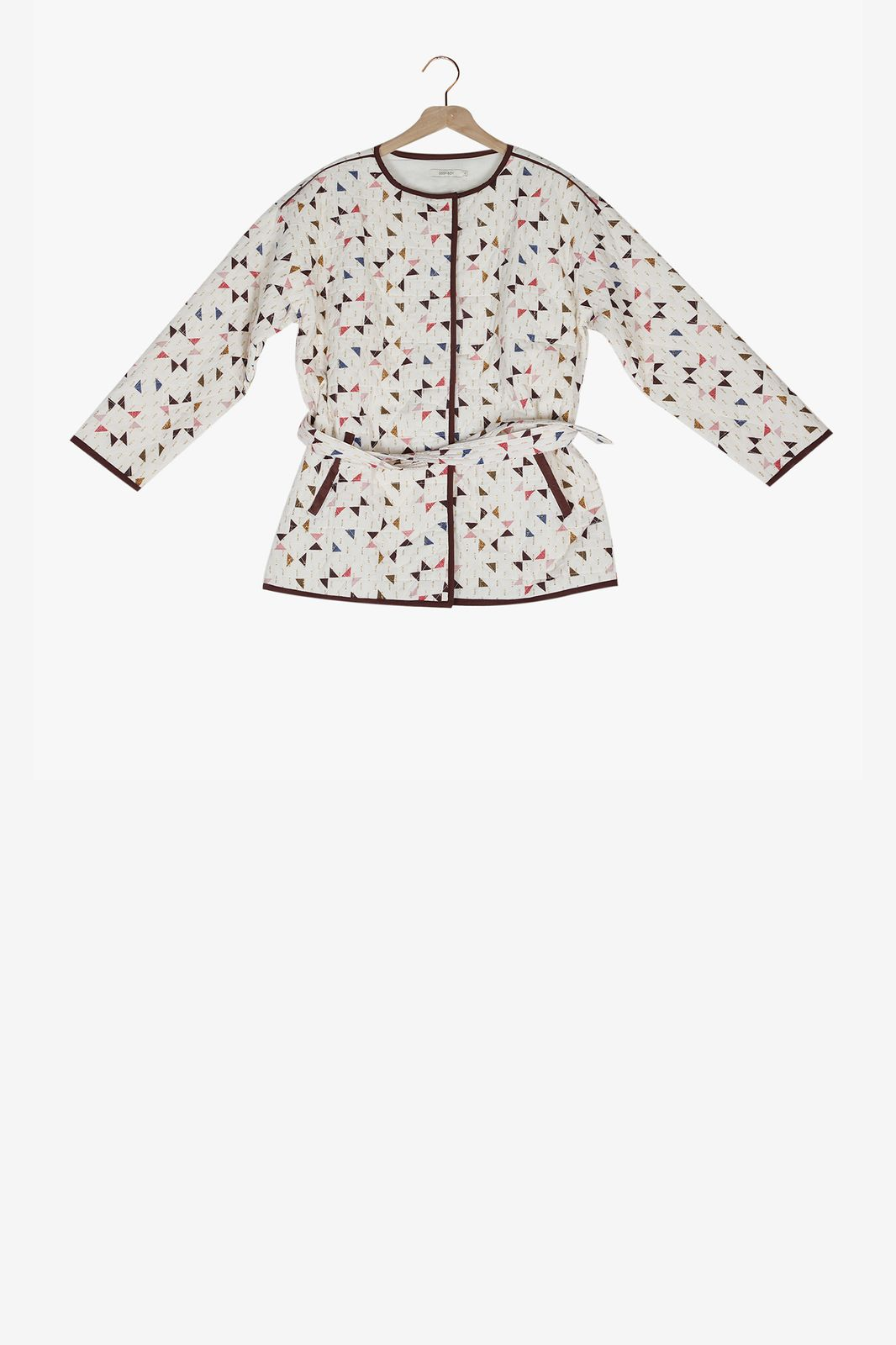 Quilted padded jasje met allover print