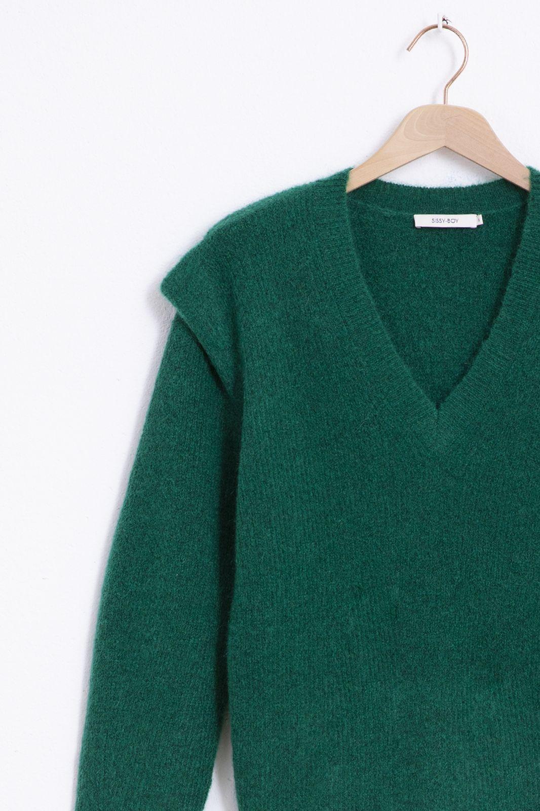 Groene rib knit pullover - Dames | Sissy-Boy