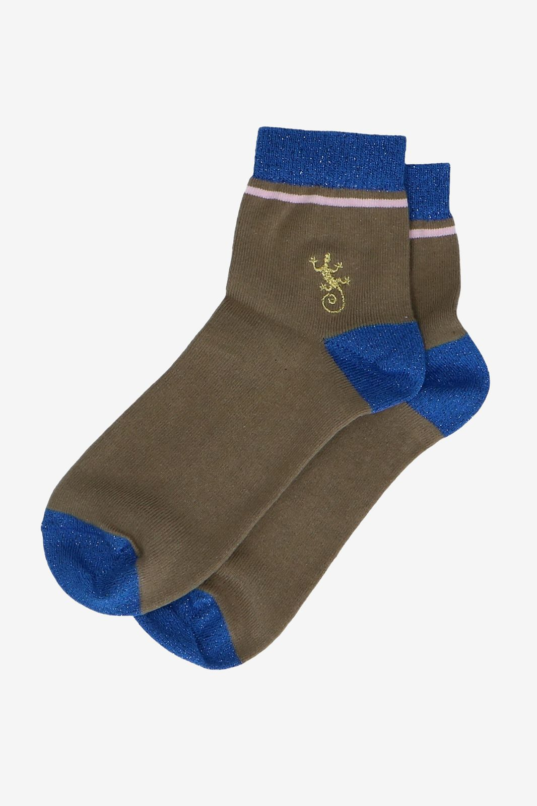 Donkergroene sokken met gecko