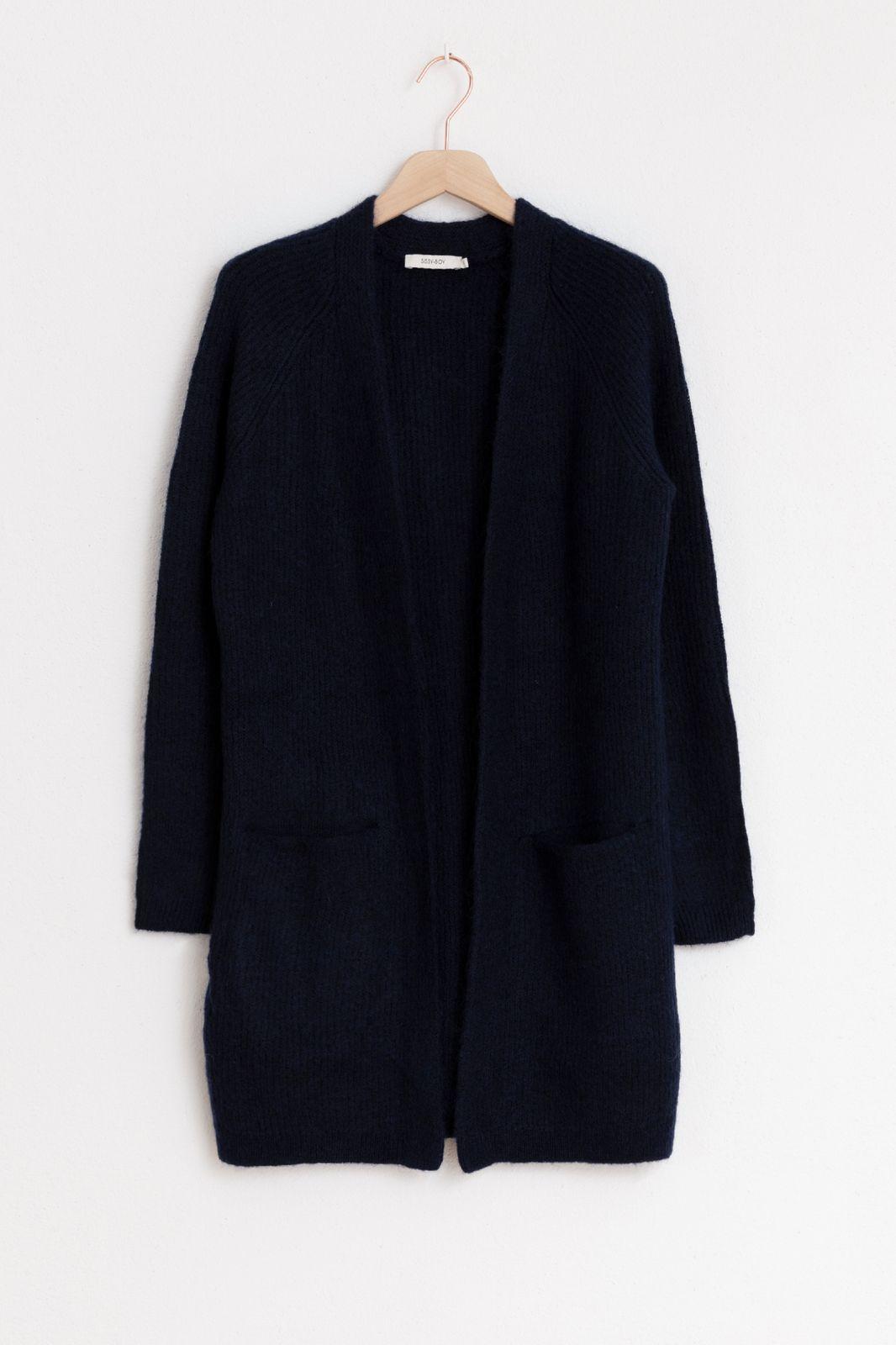 Donkerblauw lang vest met zakken