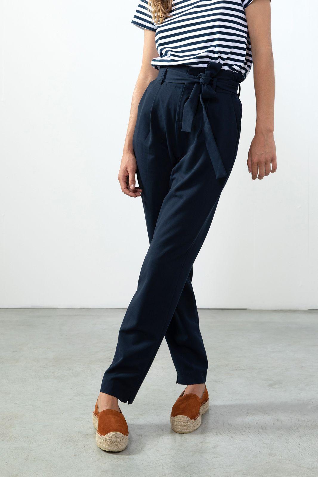 Donkerblauwe paperbag pantalon - Dames | Sissy-Boy