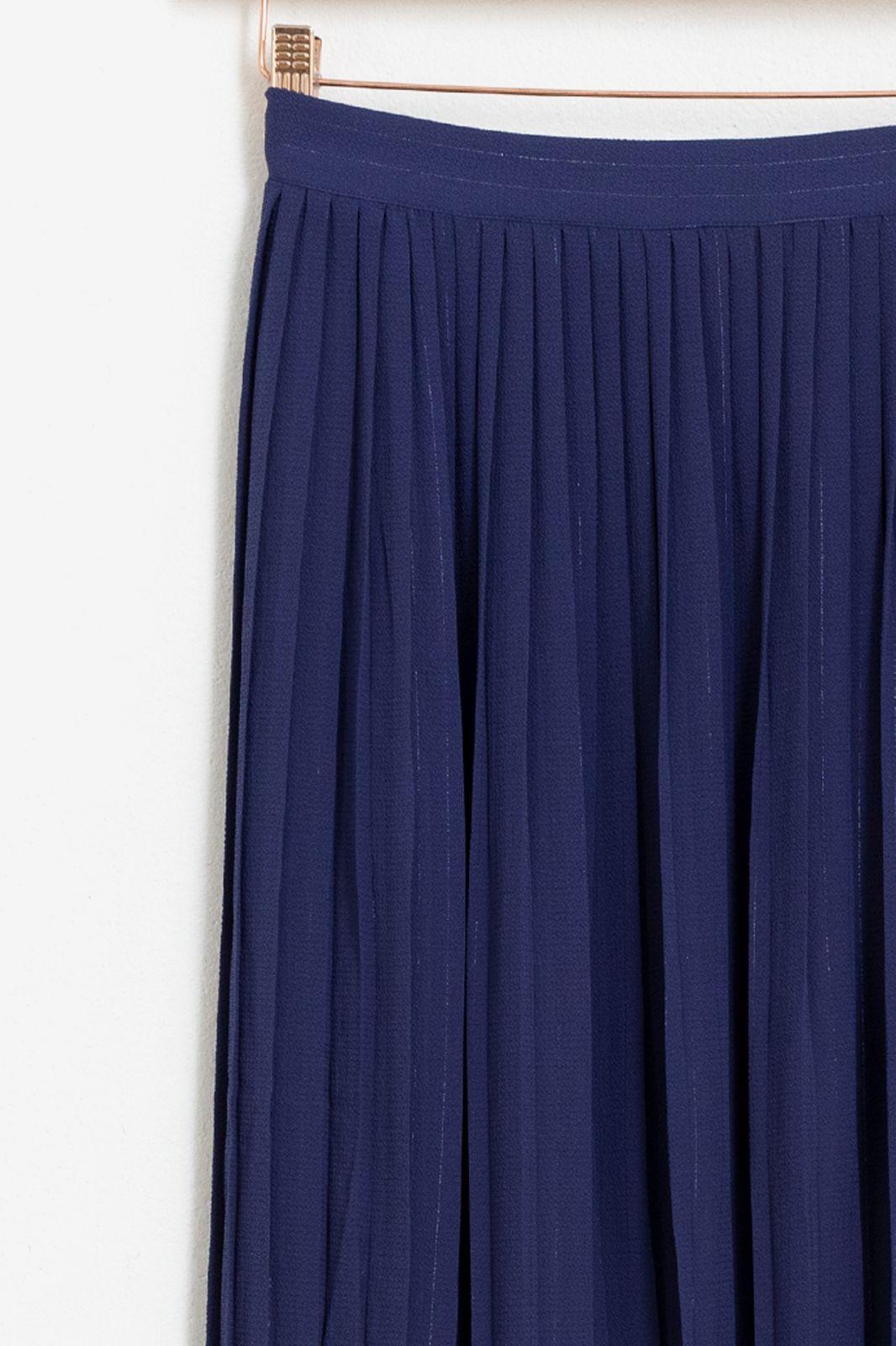 Donkerblauwe plisse rok met lurex