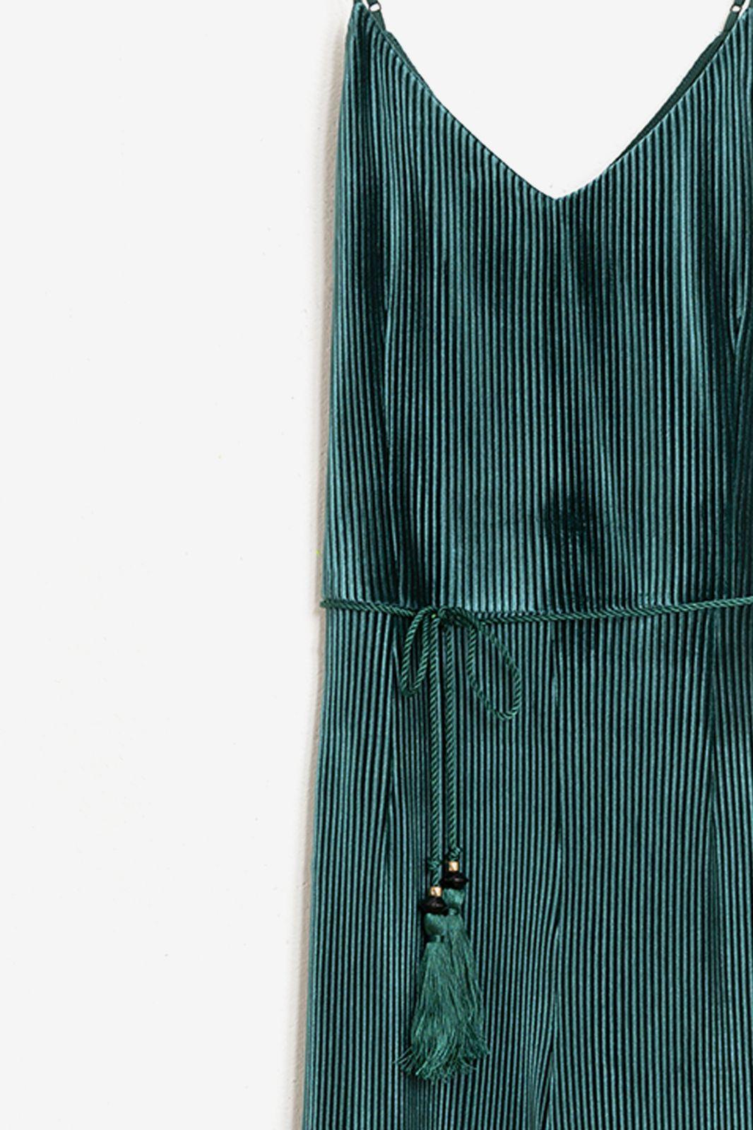 Donkergroene sleeveless rib jumpsuit - Dames | Sissy-Boy