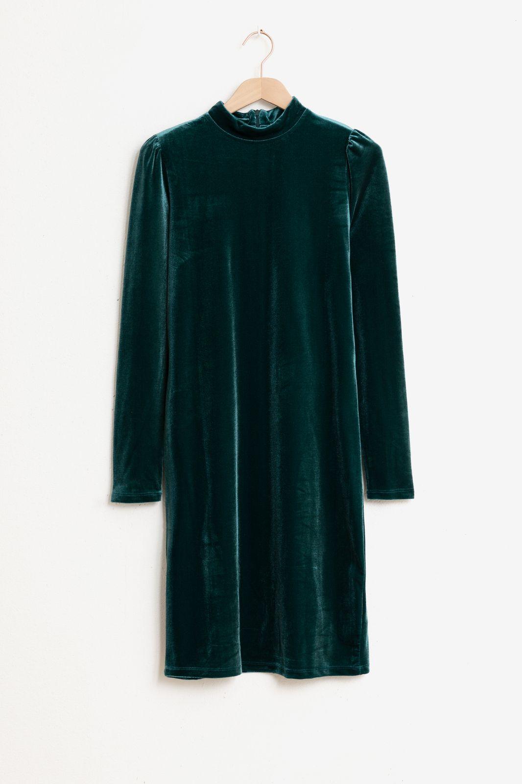 Donkergroene velvet mock neck jurk - Dames   Sissy-Boy