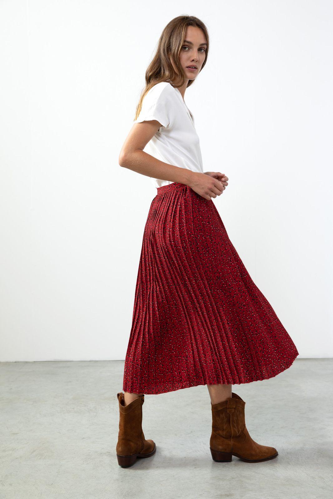 Donkerrode plisse rok bloemenprint