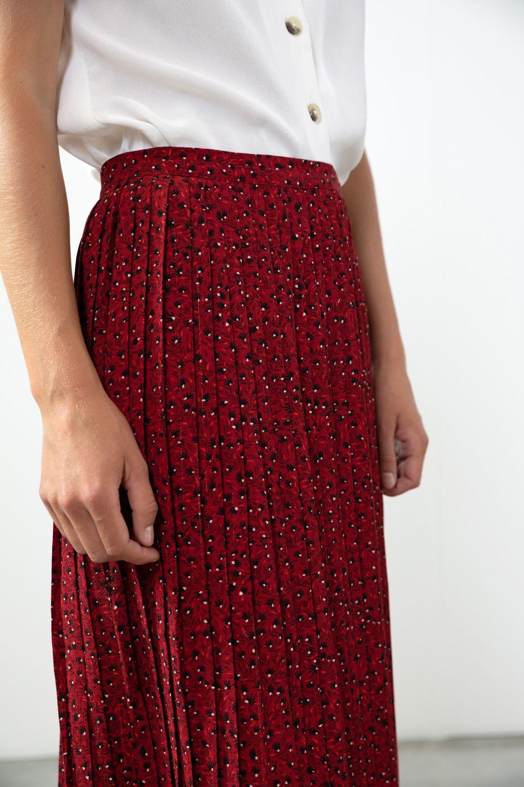 Donkerrode plisse rok bloemenprint - Dames | Sissy-Boy