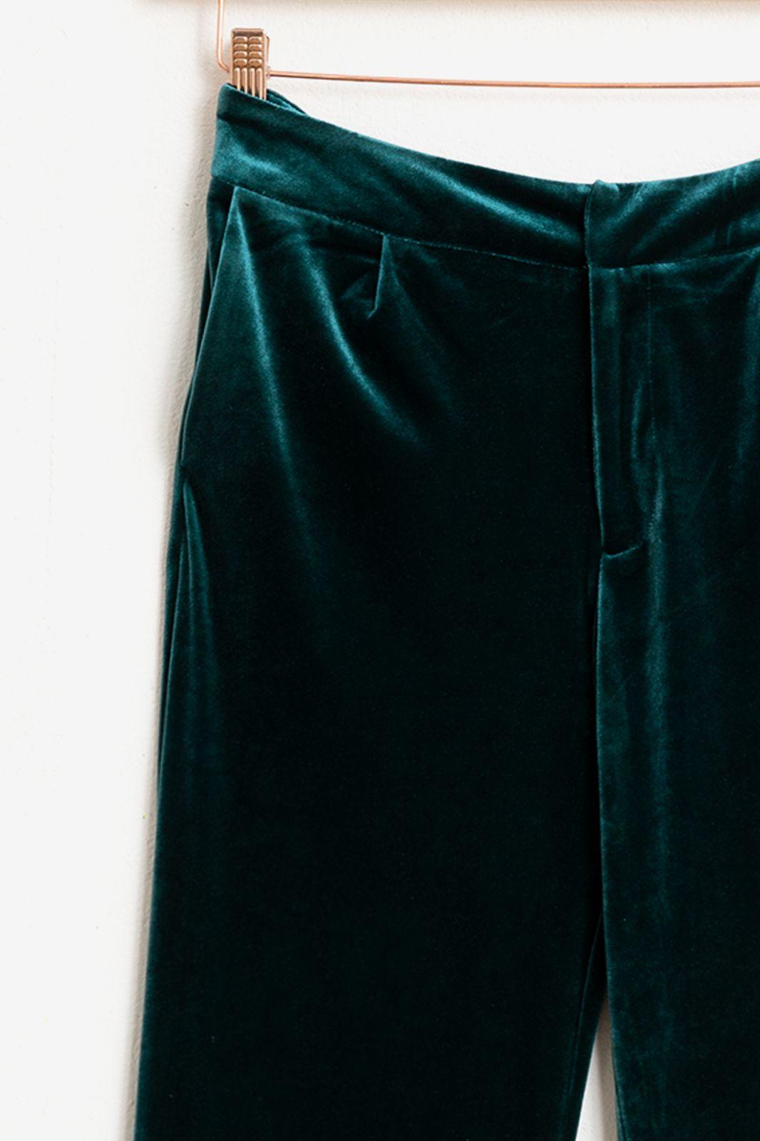 Groene velvet pantalon