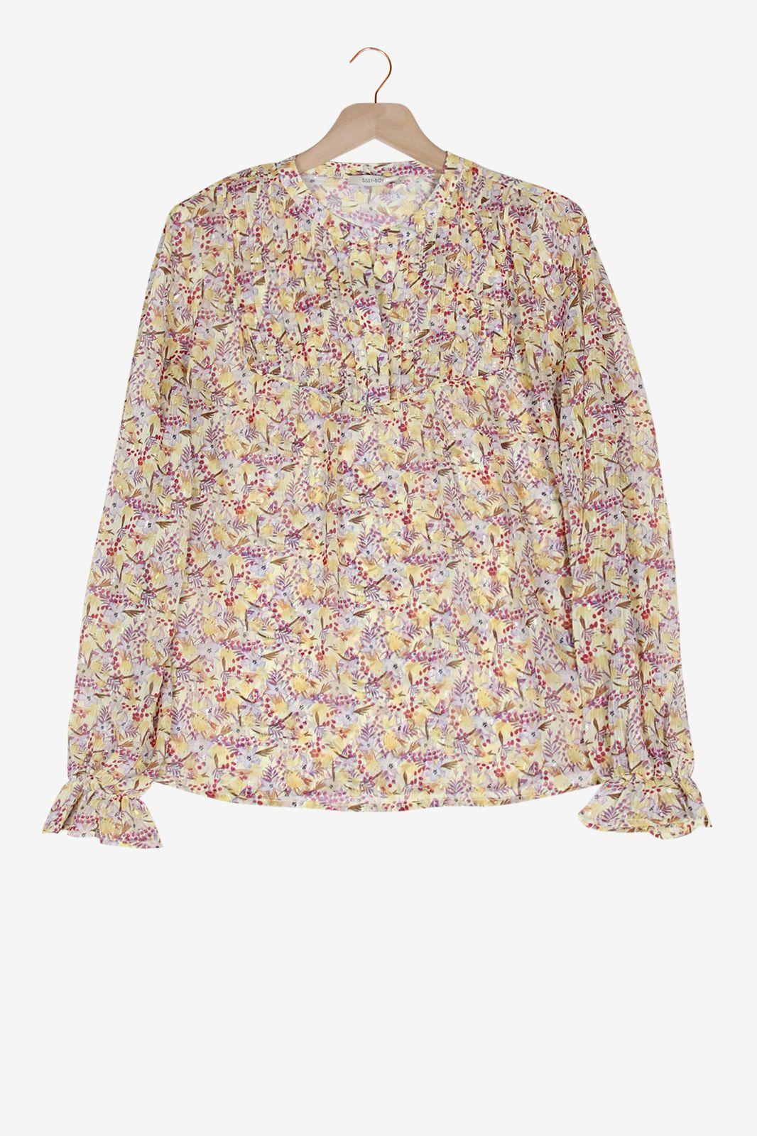 Lichtgele blouse met bloemenprint