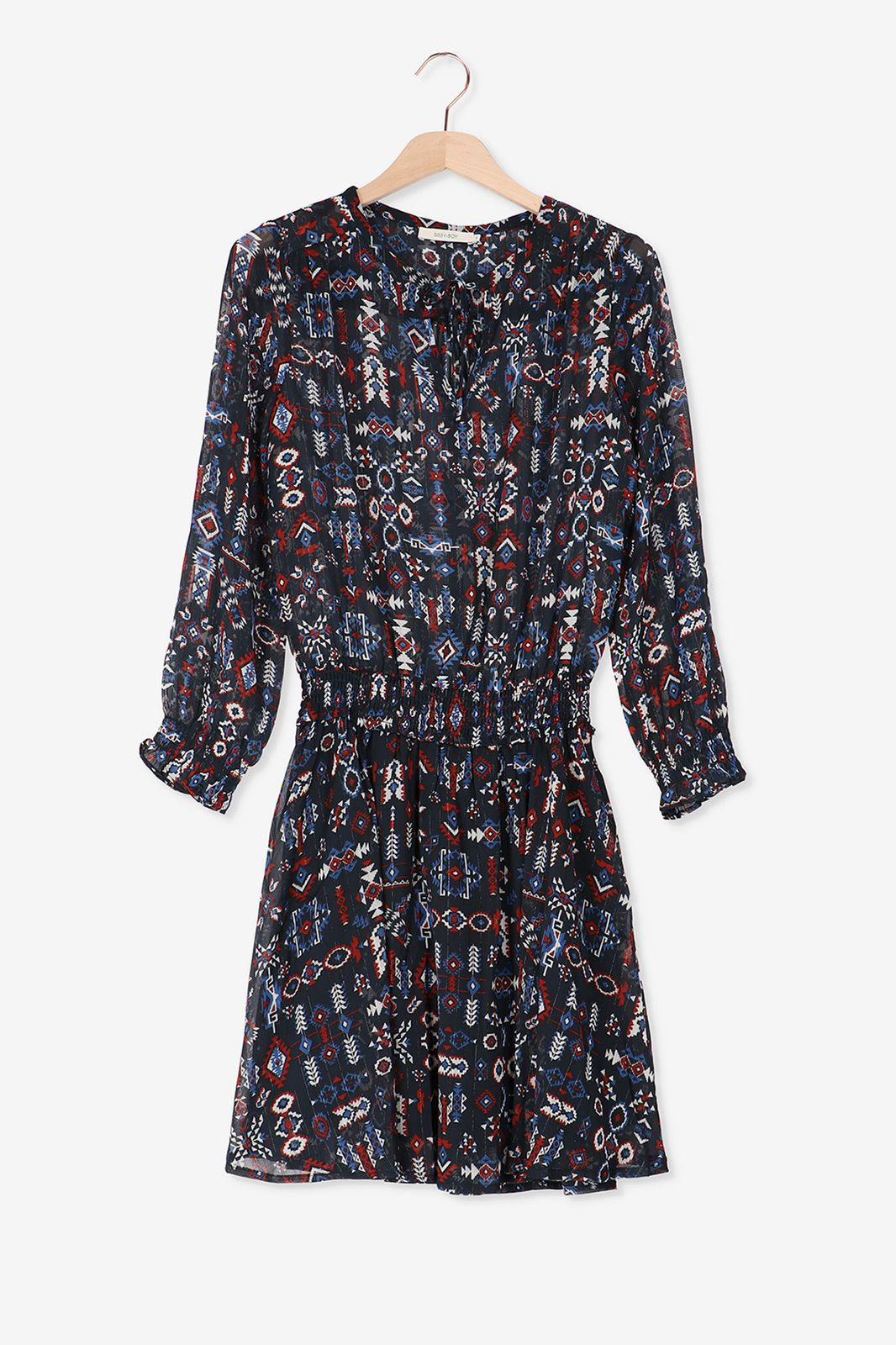 Blauwe jurk met smock