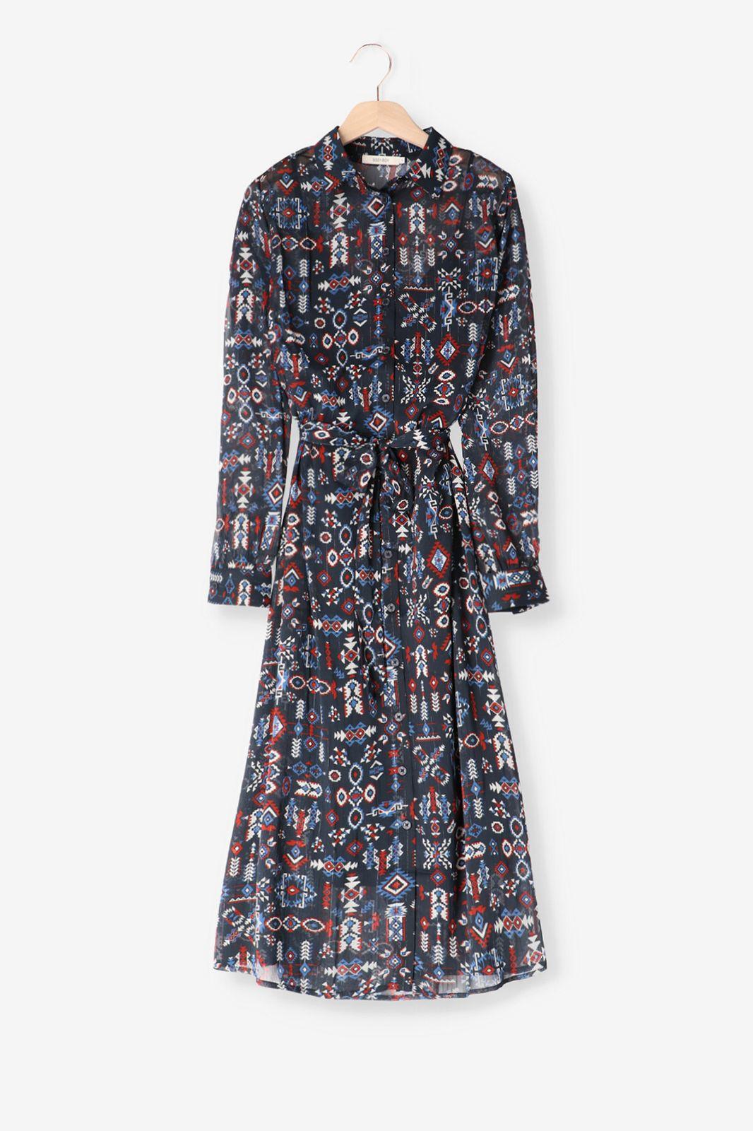 Blauwe maxi jurk met print - Dames | Sissy-Boy