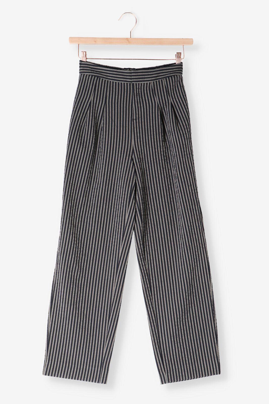 Zwarte gestreepte broek