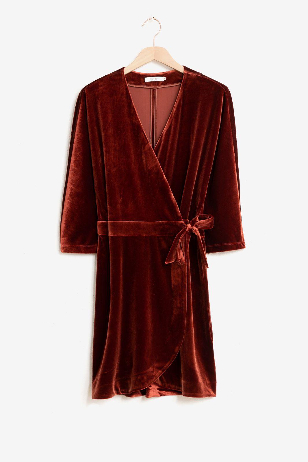 Rode velvet wrap jurk - Dames   Sissy-Boy