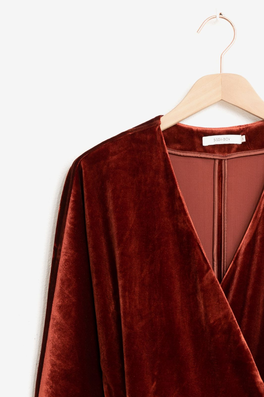 Rode velvet wrap jurk - Dames | Sissy-Boy