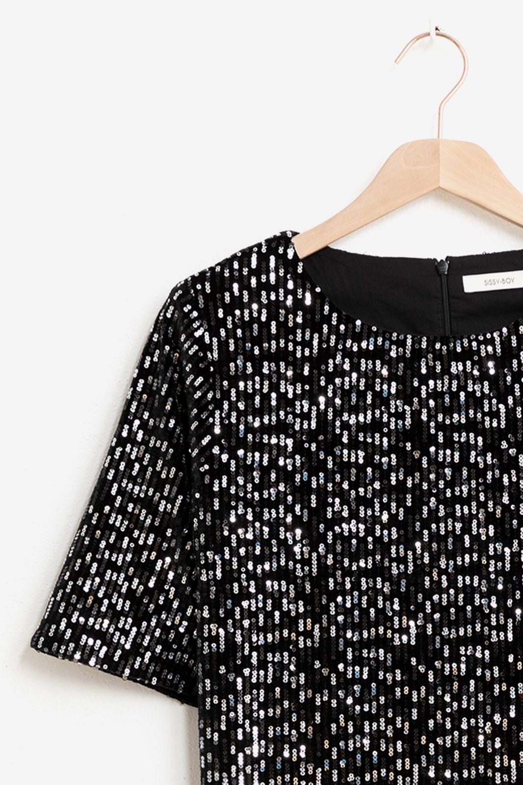 Zwarte mini jurk met pailletten - Dames | Sissy-Boy