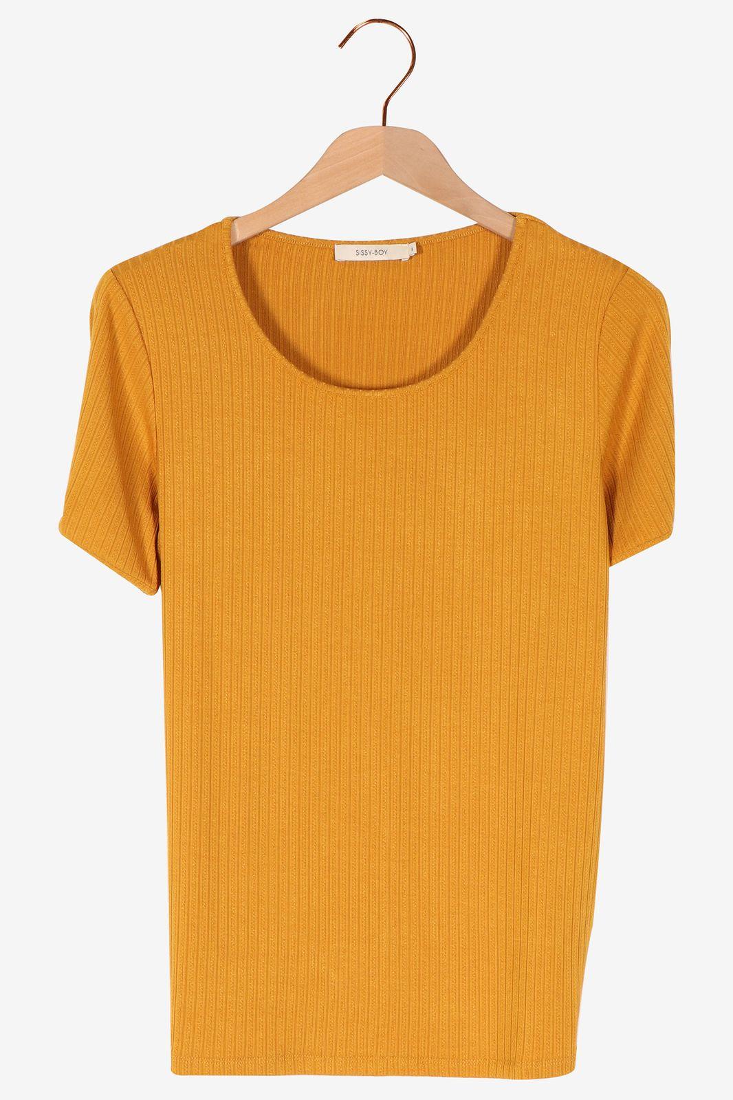 Okergeel rib t-shirt - Dames | Sissy-Boy