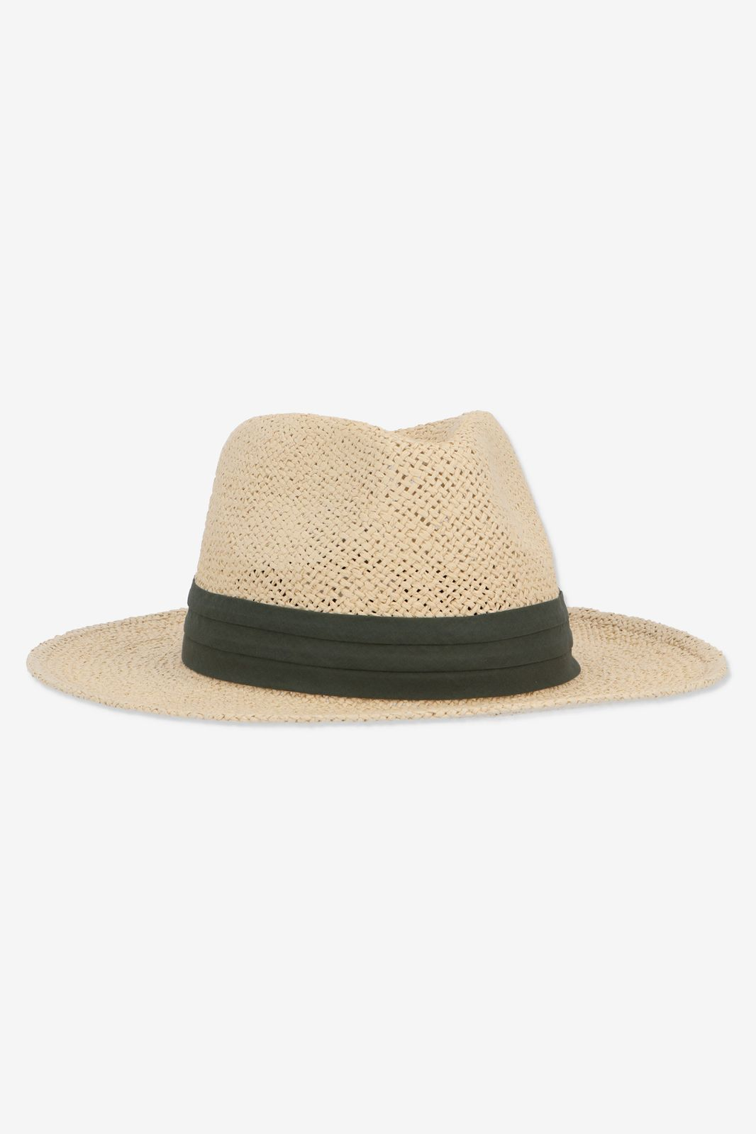 Rieten hoed met groene band - Dames | Sissy-Boy