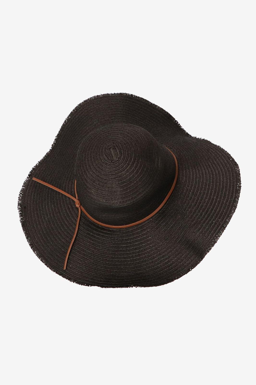 Zwarte hoed met rafelrand
