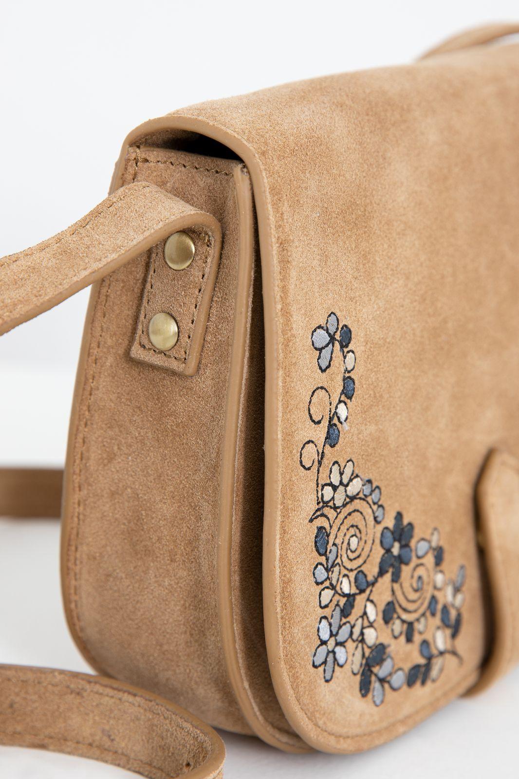 Suède saddle bag met embroidery - Dames   Sissy-Boy