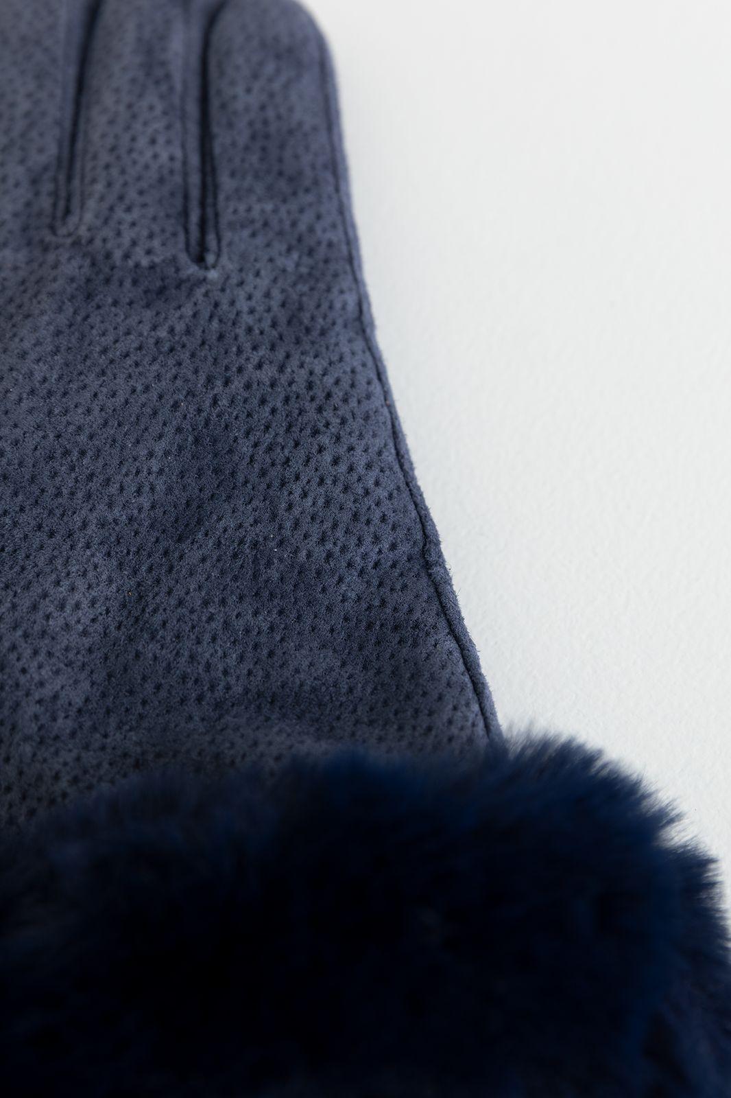 Donkerblauwe handschoenen suede