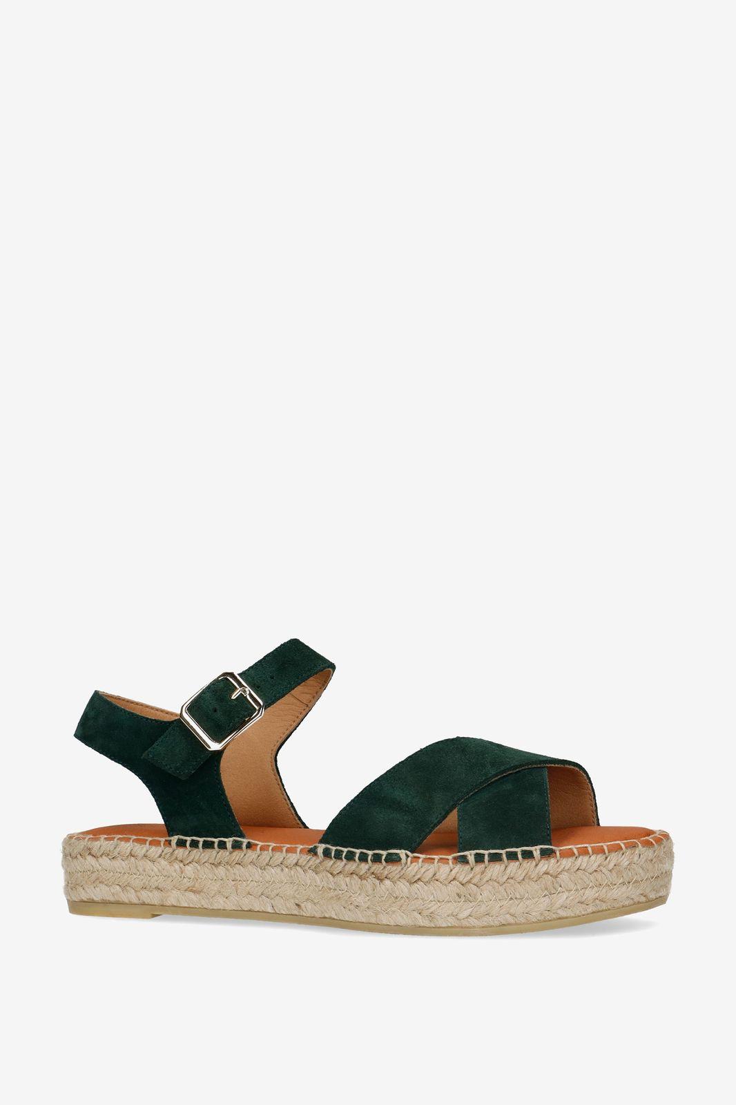 Donkergroene plateau sandalen - Dames | Sissy-Boy