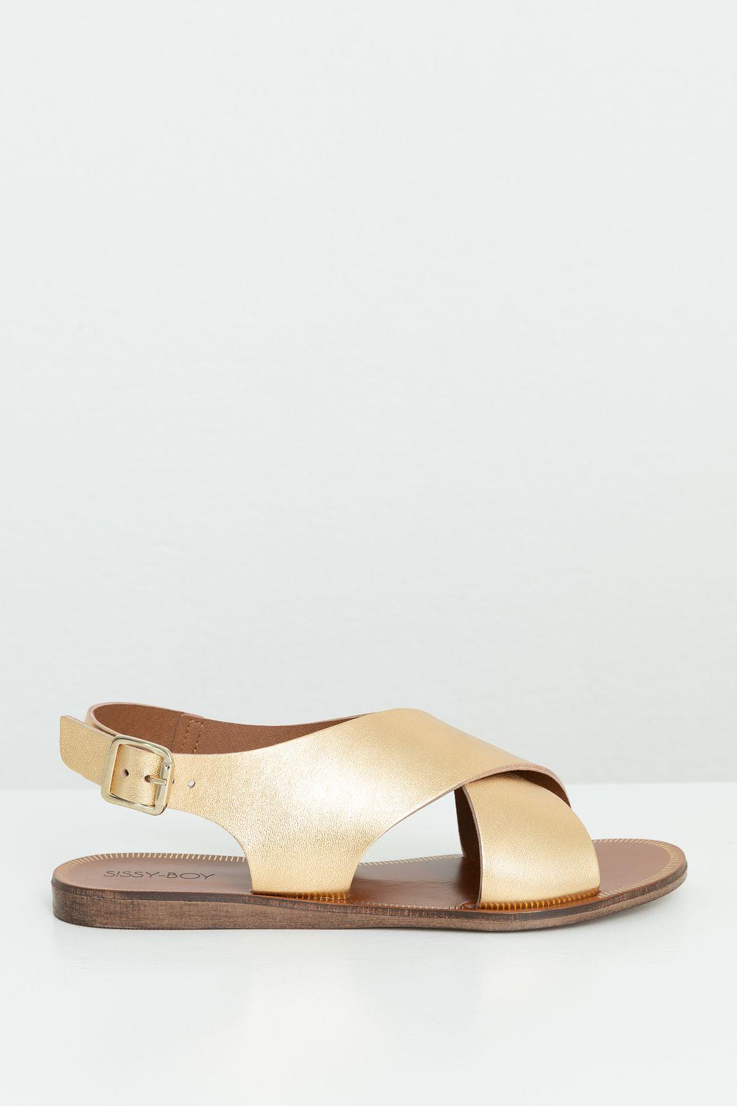 Goudkleurige leren sandaal met kruisbanden - Dames | Sissy-Boy