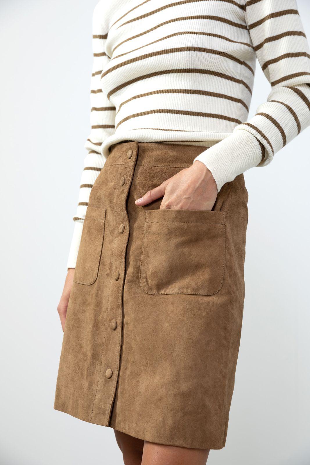 Khaki leren rok