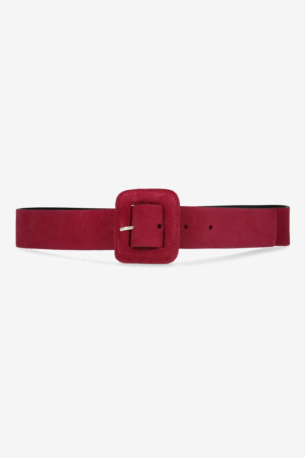 Paarse suède taille riem met covered buckle