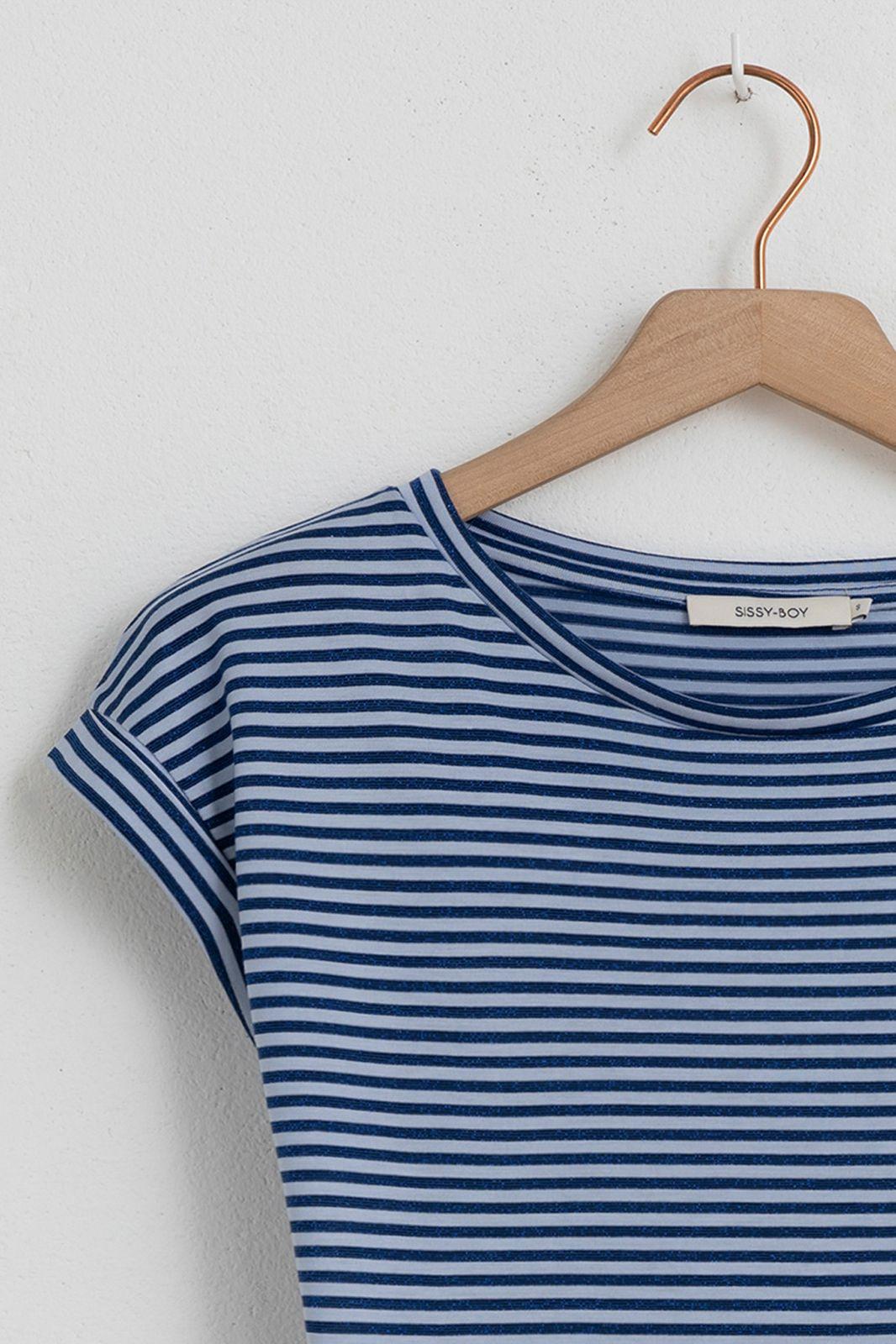 Blauw t-shirt met strepen en glitterdetail - Dames | Sissy-Boy