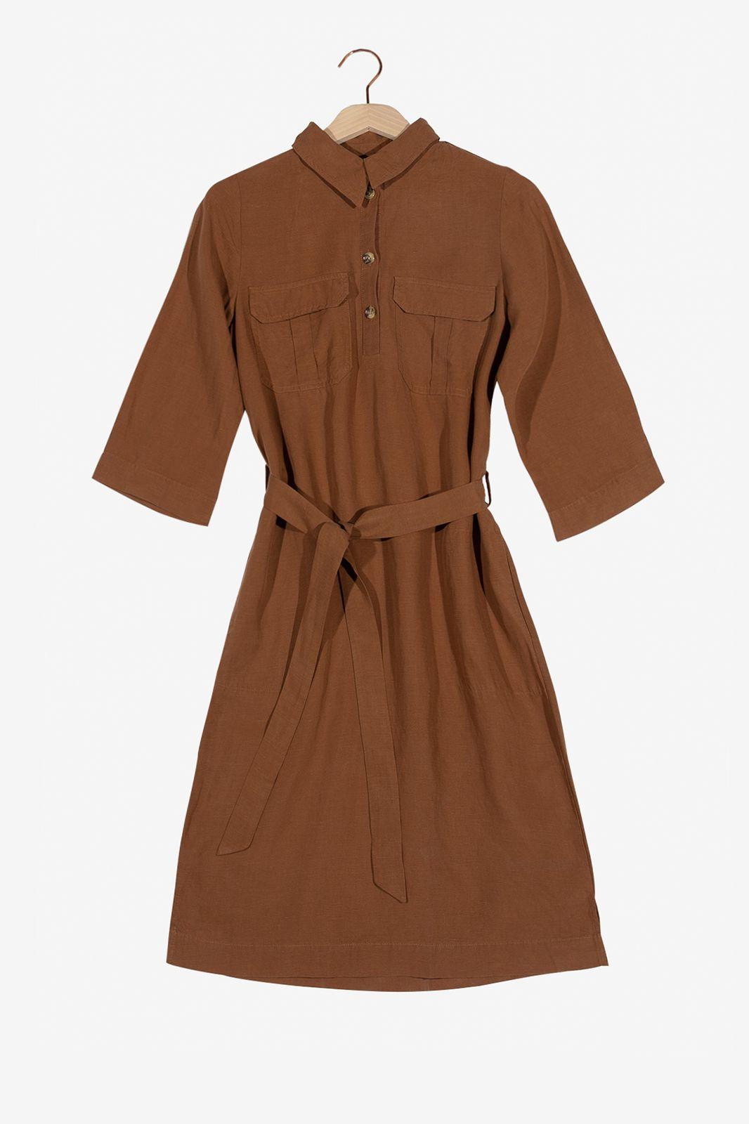 Bruine midi jurk met korte mouwen