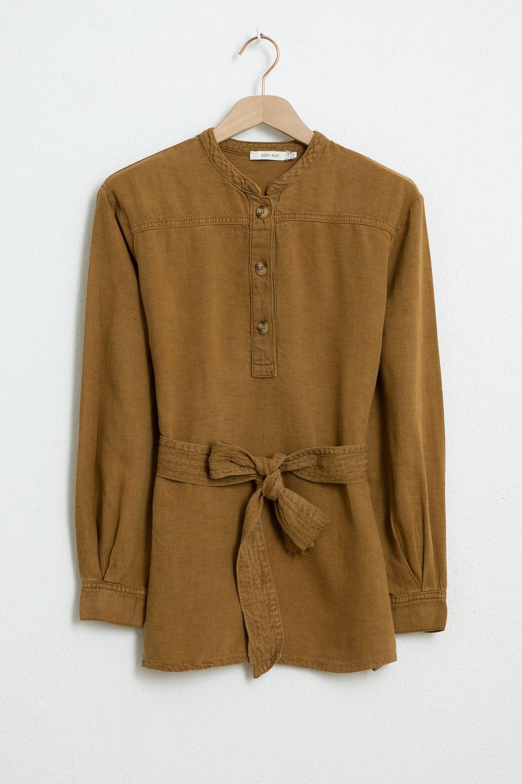 Bruine garment dye blouse - Dames | Sissy-Boy