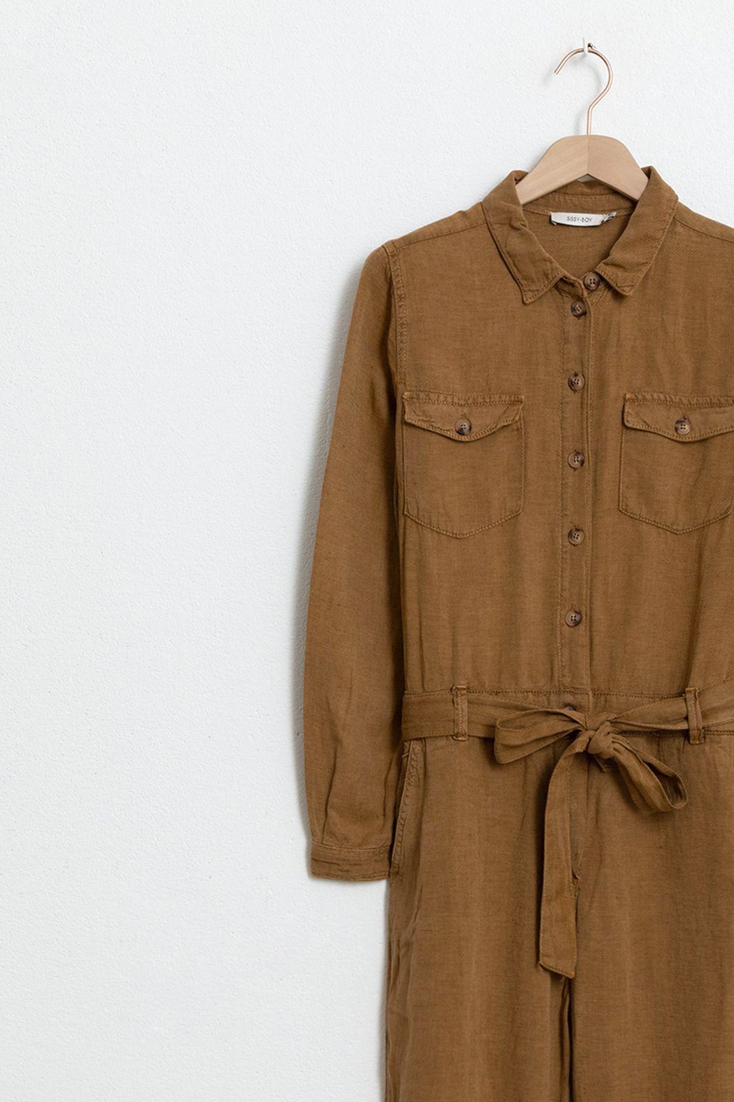 Bruine garment dye jumpsuit - Dames   Sissy-Boy
