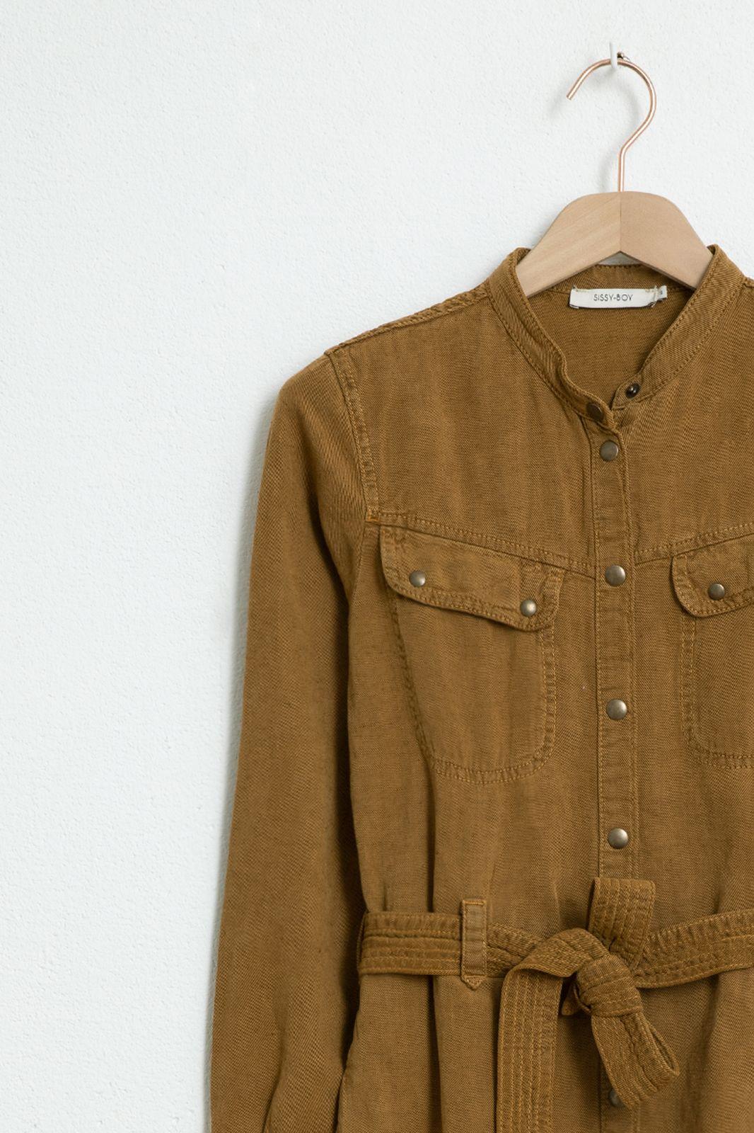 Bruine garment dye jurk - Dames | Sissy-Boy