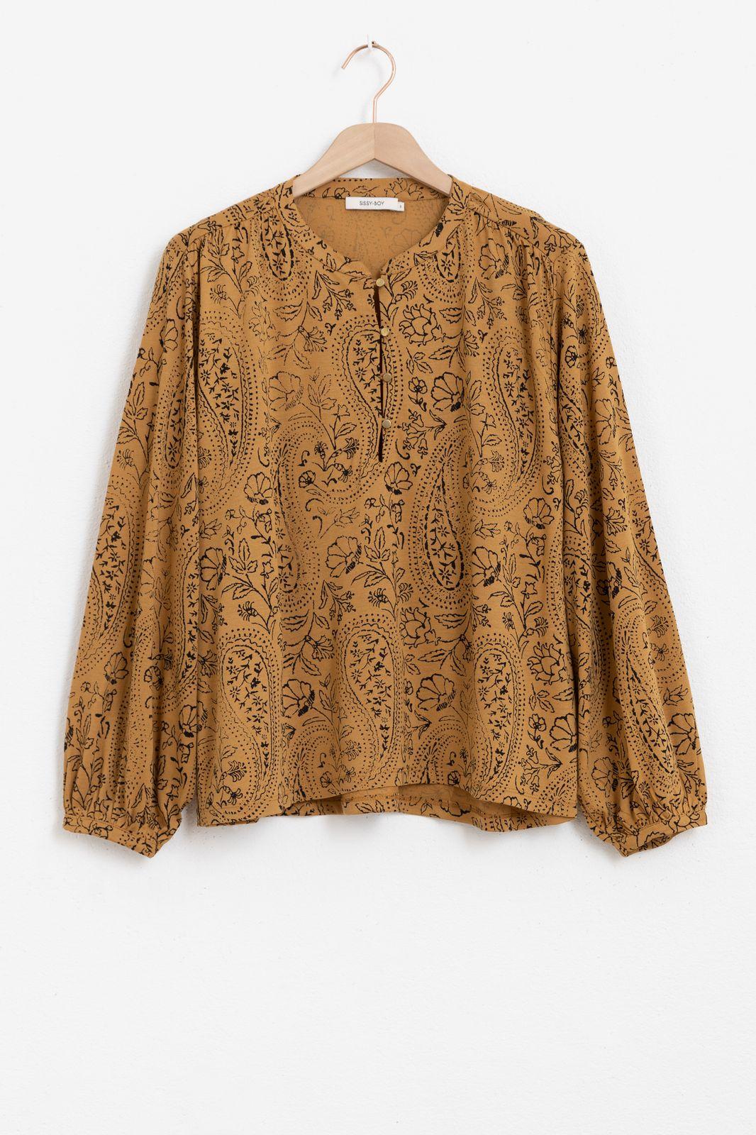 Bruine blouse met all over print