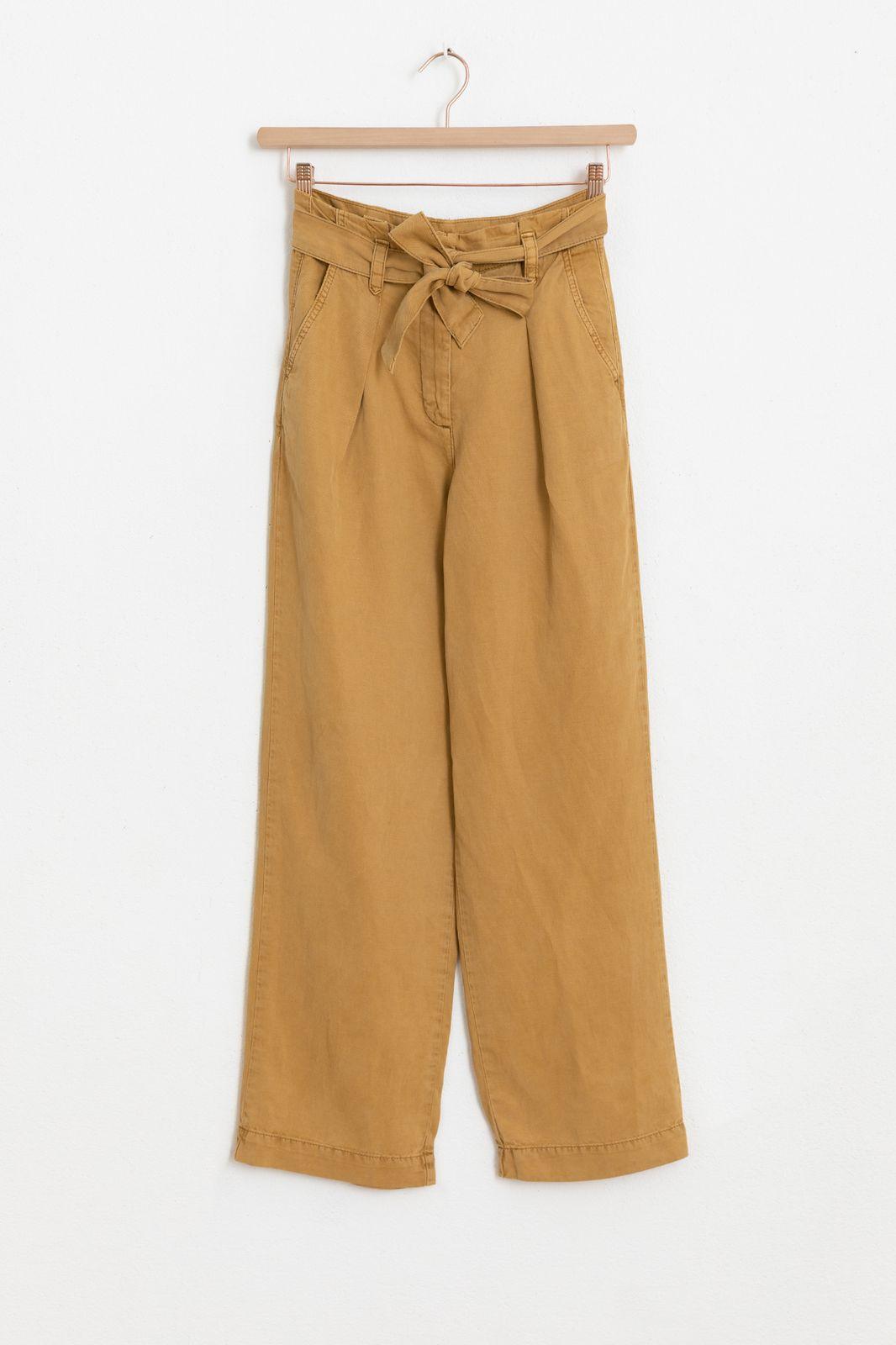Bruine high waist paperbag pantalon - Dames | Sissy-Boy