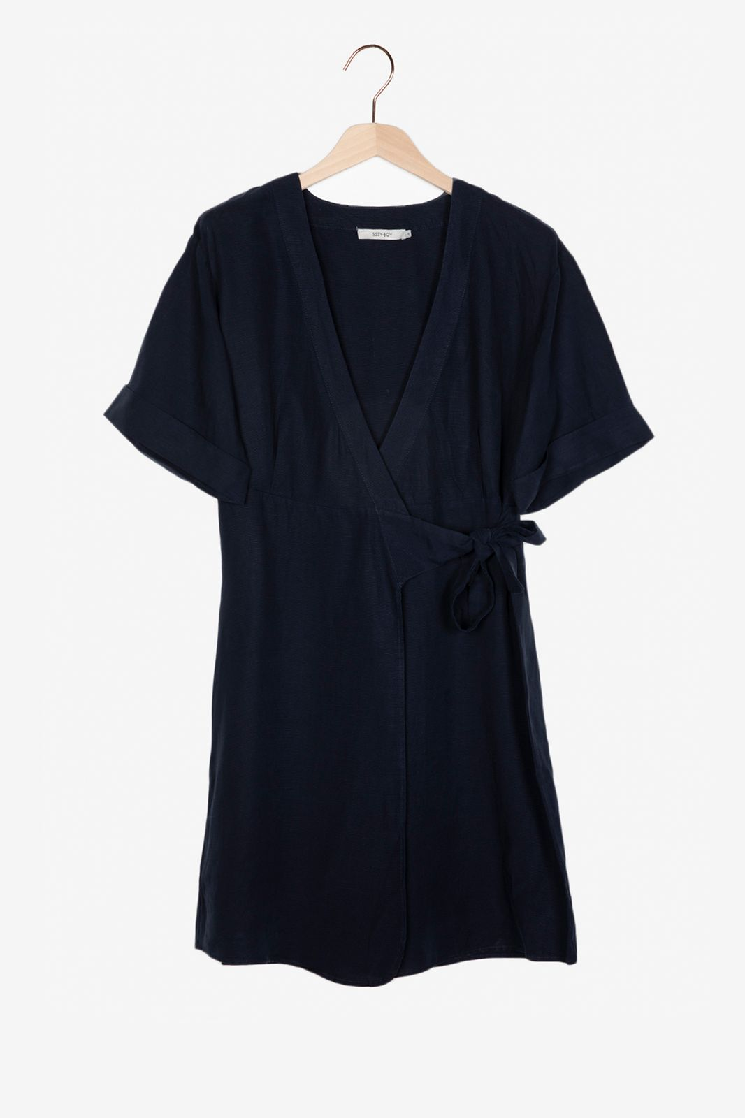 Donkerblauwe overslag jurk - Dames   Sissy-Boy